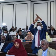 A member of parliament gestures in response to the president's request to annul a law extending his term in Mogadishu, Somalia, on May 1, 2021.