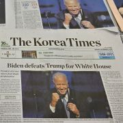 Photos and stories of U.S. President-elect Joe Biden dominate the headlines on the front pages of newspapers in Seoul, South Korea, on Nov. 9, 2020,