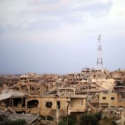 A picture taken on Aug. 2, 2018, shows destroyed buildings in the southern Syrian city of Daraa.