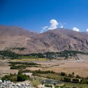 A view of southwestern Tajikistan from the Afghan border town of Qazi Deh.