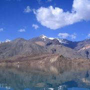Lake Sarez sits at an elevation of 3,300 meters (10,827 feet) in Tajikistan's Gorno-Badakhshan Autonomous Region.