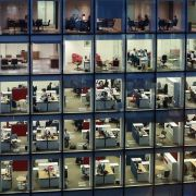A picture of a workers in an office building.