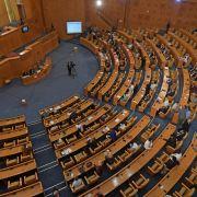 Legislators attend a plenary session in Tunisia's parliament on June 3, 2020.