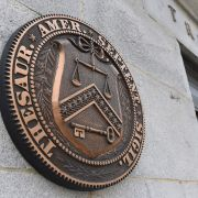 The seal U.S. Treasury Department is seen on March 27, 2020, in Washington D.C.