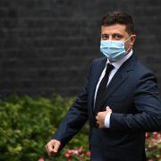 Ukrainian President Volodymyr Zelenskiy wears a facemask as he arrives to meet with U.K. Prime Minister Boris Johnson in London on Oct. 8, 2020.